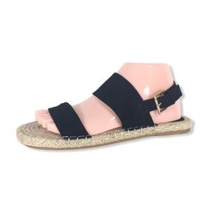 FOREVER 21 | Black Faux Suede & Jute Sole Sandals